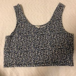Forever 21 Floral Blue Cropped Tank